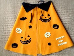 ハロウィンかぼちゃ柄マントの完成